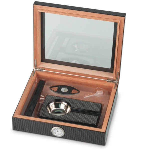 Freeline Humidor Set Carbon mit Glasdeckel